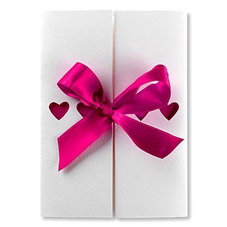 Ribbons Fuchsia Pink Wedding Invitation #hearts