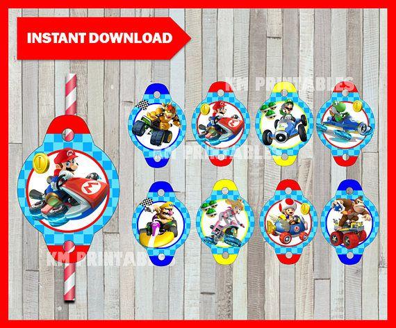 Printable Mario Kart Straw Tags instant download Mario Bros