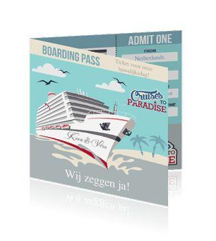 Boarding pass uitnodigingen of trouwkaarten als ticket met een boot. Een bijzondere huwelijkskaart.