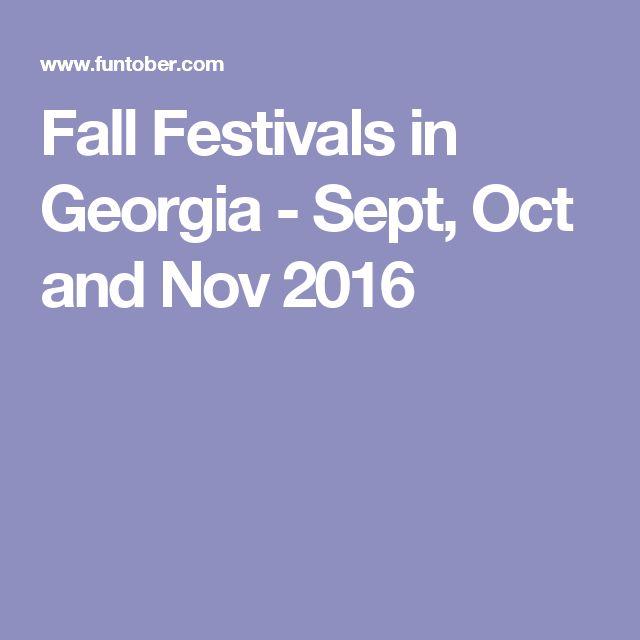 Fall Festivals in Georgia - Sept, Oct and Nov 2016