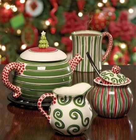 Tea Set with Teapot, Cream Jug, Sugar Bowl and a Mug