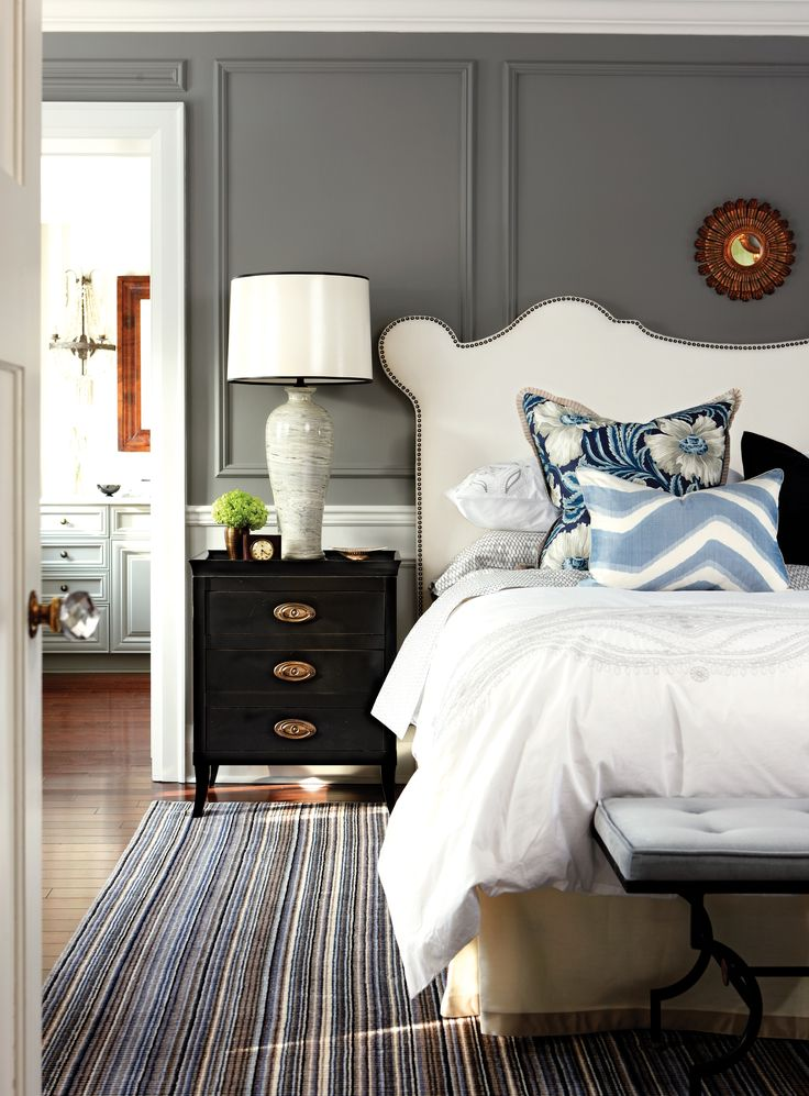 Bedroom, white bed, grey walls, crown moulding, striped carpet, Feb 13, p58
