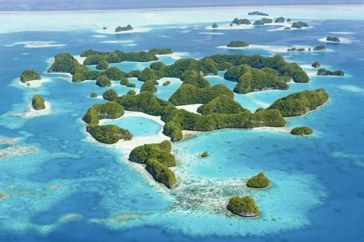 Aerial view of Seventy Islands, Palau
