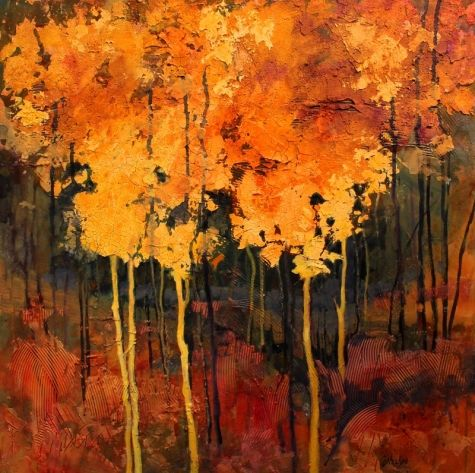 Good Fortune 13001, mixed media abstract landscape trees Carol Nelson Fine Art, painting by artist Carol Nelson