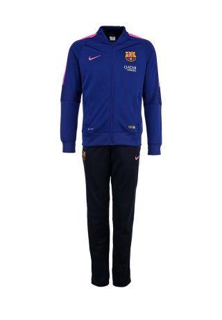 """Спортивный костюм от Nike сочетает в себе качество и удобство. Приятный на ощупь материал с функцией Dri-FIT отводит влагу от тела, сохраняя кожу сухой. Детали: прямой крой; олимпийка с высоким воротником и застежкой на молнию, два кармана на фронтальной стороне, эластичные резинки по канту и на локтях, контрастные сетчатые вставки розового цвета; брюки с эластичным поясом и манжетами, два боковых кармана; нашивки с символикой ФК Барселона""""."""" http://j.mp/1pP2Bbb"""