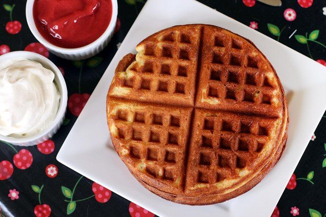 Chickpea flour makes for light, crispy waffles