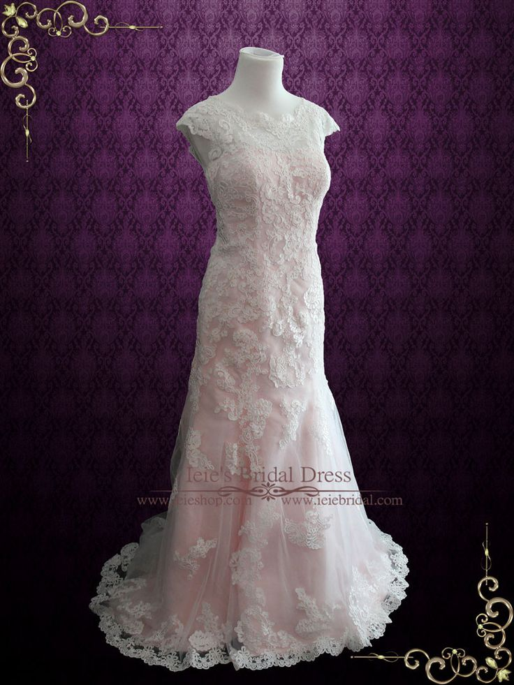 Modest Vintage Lace Pink Wedding Dress With Cap Sleeves