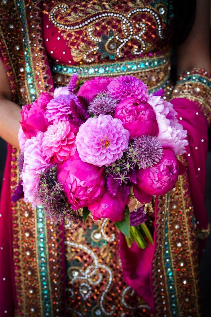 dark pink peony rose wedding bouquet | indian bride