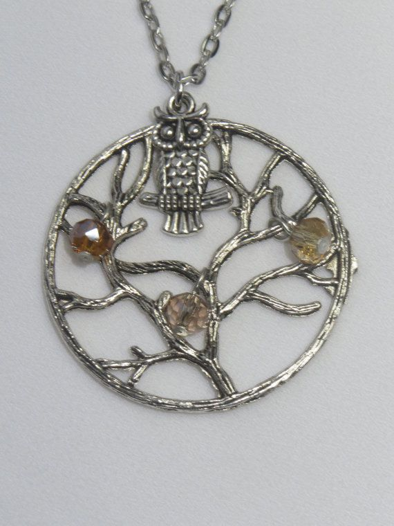 Owl in Tree  Charm Necklace  Silver Owl Glass Beads in by Thielen, $14.95