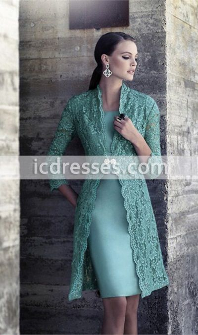 Sexy 3/4 Sleeve Lace Mother of the Bride Dresses 2016 New Arrivals with Coat Jacket Bolero Knee Length Party Prom Gowns