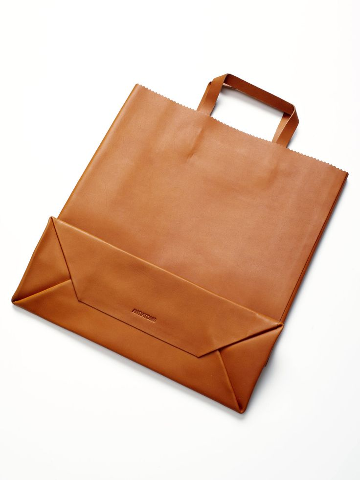 "Antiatoms Leather Shopping Bag | take apart a paper bag to create a ""pattern"" from which to create a reusable and very sturdy leather shopping bag"