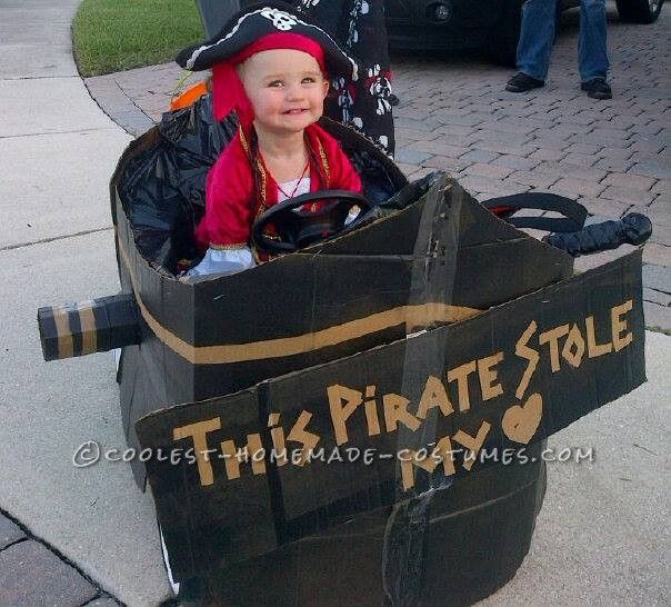 Homemade Toddler Pirate Costume with Pirate Ship Buggy... Coolest Halloween Costume Contest
