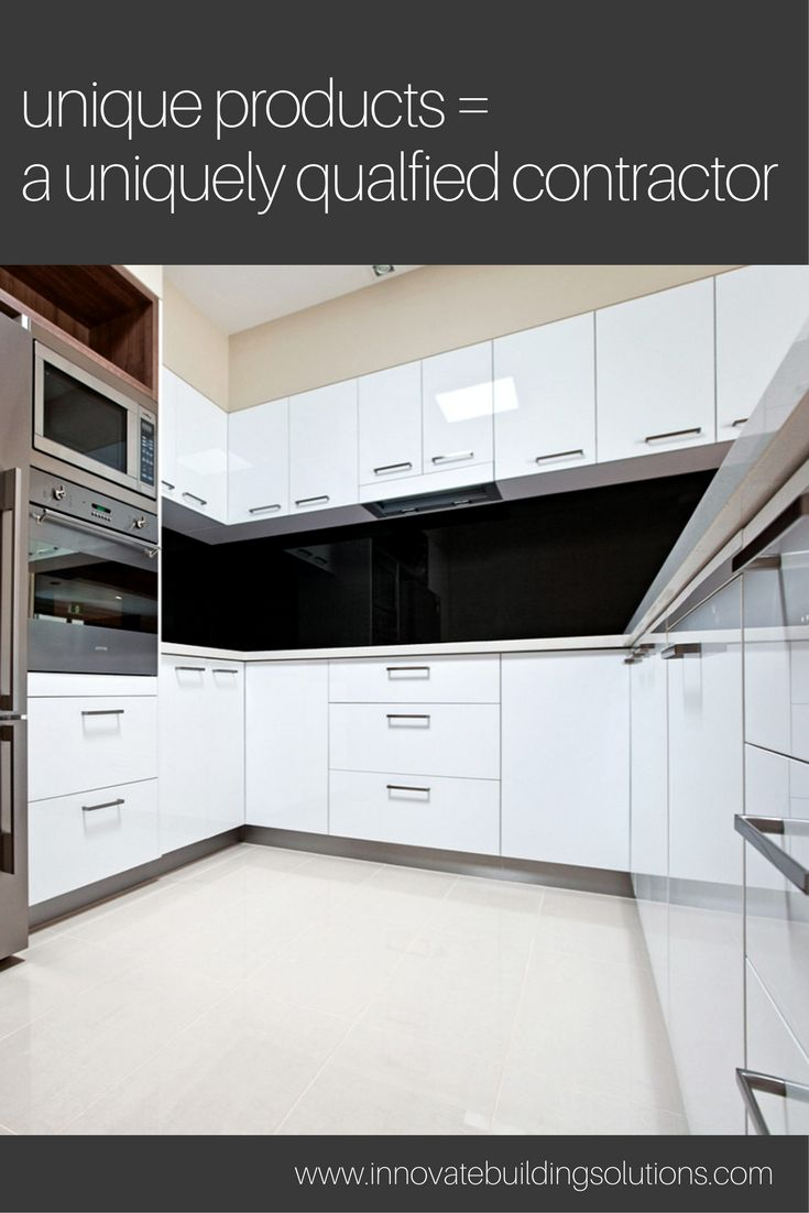 Is it difficult to get your contractor to install unique products - like these high gloss kitchen backsplash wall panels or glossy cabinetry? In this article see how to influence your kitchen remodeling contractor to want to use innovative products on your next project. | Innovate Building Solutions