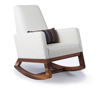 The Joya Rocker in white bonded leather with walnut base and Paul Smith Grey striped pillow is a modern and stylish choice for your nursery and home. Modern | Contemporary Nursery Furniture