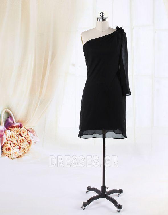 2014 Αμάνικο Μέχρι το Γόνατο Ασύμμετρη λαιμό Κοκτέιλ φορέματα