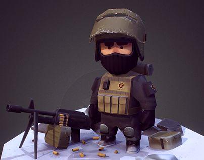 """查看此 @Behance 项目:""""Low poly  military miniature.""""https://www.behance.net/gallery/30035569/Low-poly-military-miniature"""