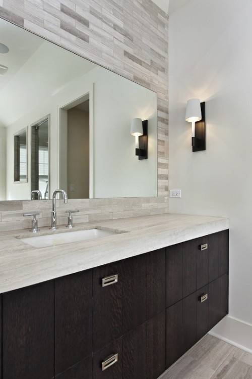 Clean Bold Vanity Amp Tile Behind Mirror Master Bath