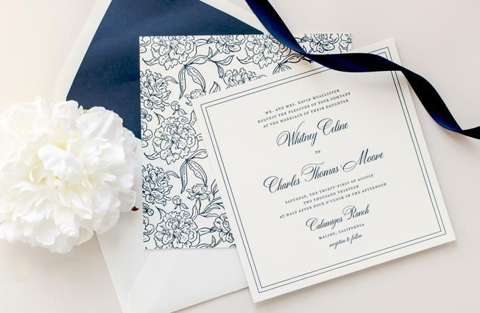 Posh Square Wedding Invitation Suite by KimberlyFitzSimons with Dom Loves Mary Calligraphy font by Debi Sementelli