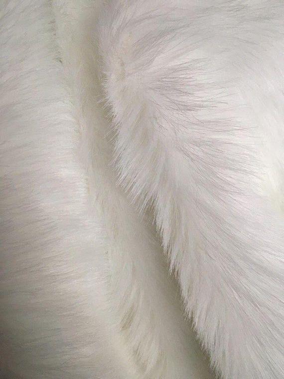 White Faux Long Pile Fur Fabric Toys Costumes Width Faux Fur Throw Blanket Fur Fabrics Fur Fabric Crafts