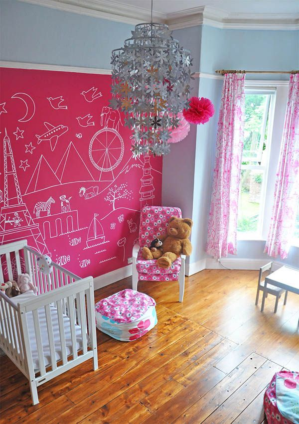 I adore this wall mural. The blue, fuschia, pink, and silver color scheme is also very attractive.