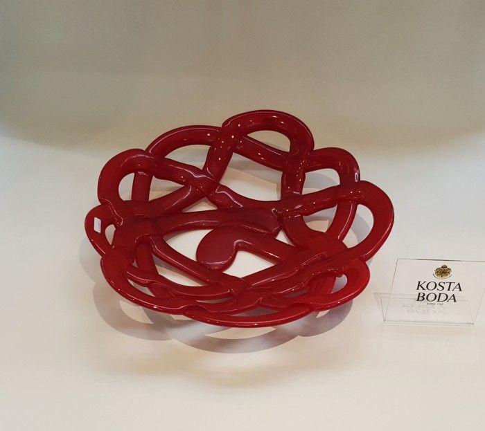 Kosta Boda Basket rosso grande