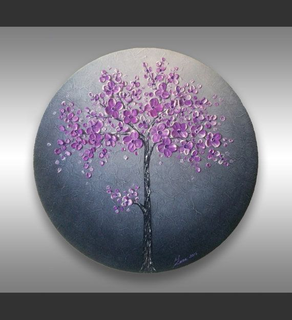 Round Purple And White Abstract Painting: Round Canvas Art, Impasto Painting, Red Poppies Art, Green