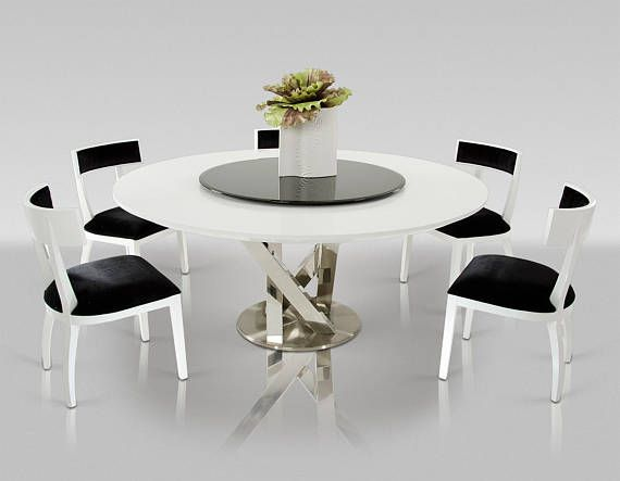 Glass Lazy Susan S Black Grey Tint Glass 1 2 Round Dining Table Modern Modern Round Kitchen Table Modern Kitchen Tables