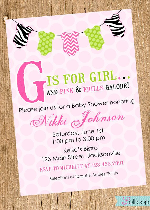 Baby Shower Onesie Hot Pink And Zebra Printable Invitation, Personalized  Baby Shower Girl Invite,