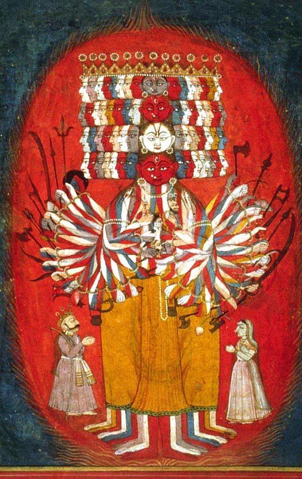 Vishvarupa, la forme universelle de Vishnu, le Multiforme   Gouache et feuille d'or sur papier, 1740 env.  Panjab Hills, Bilaspur, Inde