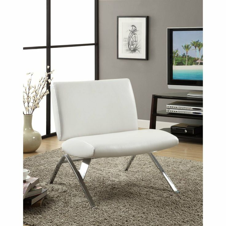 White Leather Look / Chrome Metal Modern Accent Chair | Lustrous In Fashion And  Exquisite