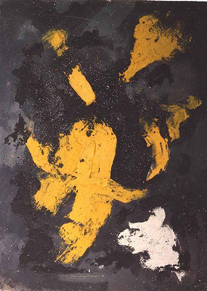 Lucio Fontana, Concetto Spaziale, 1957, 130 x 96 cm, huile, technique mixte et paillettes sur toile. Courtesy Tornabuoni Art
