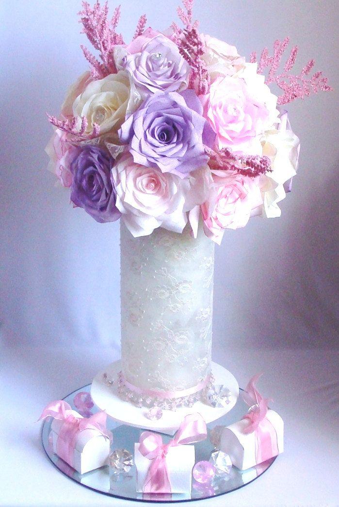 Pink and ivory paper floral arrangement, Vintage themed centerpiece, Lace floral decor, Romantic floral decor, Romantic Decor, Home decor - pinned by pin4etsy.com