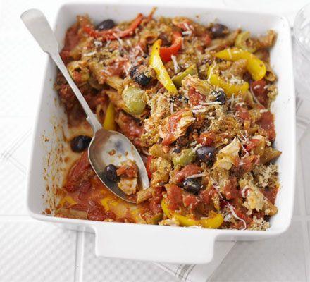 Tuna Arabbiatta Pasta ~ 30 mins ~ Per serving:  365 calories, protein 30g, carbohydrate 54g, fat 5 g, saturated fat 1g, fibre 9g, sugar 11g, salt 0.75 g