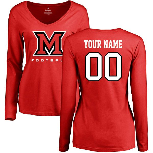 Miami University RedHawks Women's Personalized Football Slim Fit Long Sleeve T-Shirt - Red - $42.99