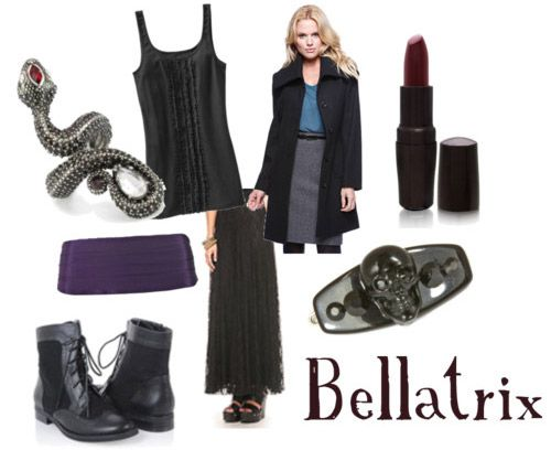 Outfit inspired by Bellatrix Lestrange's style in Harry Potter and the Deathly Hallows Part 1 . Freakin death eater.