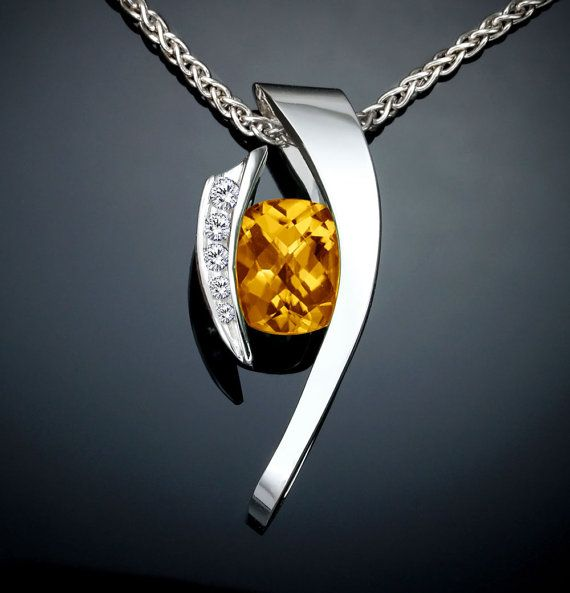 Argentium silver, citrine and white sapphire pendant designed by David Worcester for VerbenaPlaceJewelry.Etsy.com