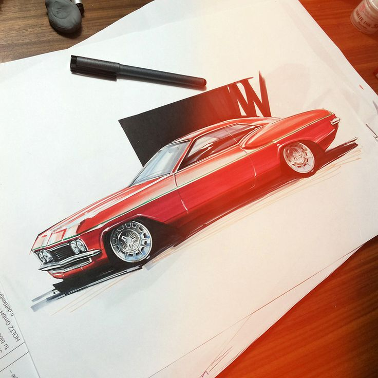 a photo in my class visual representation techniques...no1. Chip Foose style rendering. Sketch by Orhan Okay. #copicmarker #copic #rendering #car #designsketch #marker #design