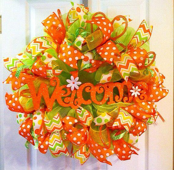 Summer wreath/ Welcome wreath/ summer mesh wreath