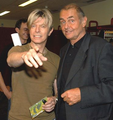 David Bowie with Hans-Joachim Roedelius in 2003
