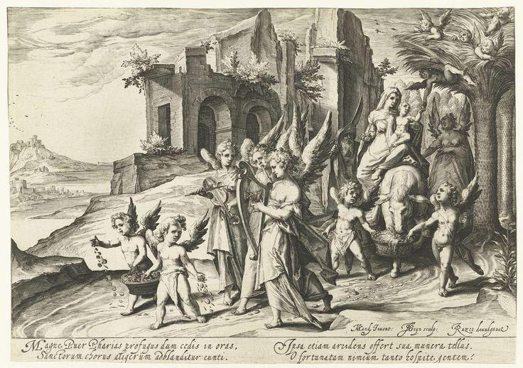 Jacob de Gheyn (II) | Terugkeer van de vlucht naar Egypte, Jacob de Gheyn (II), Jacques Razet, 1590 - 1594 | Maria rijdt met het Christuskind op de arm op een ezeltje, omringd door engelen. Jozef loopt naast haar. Op de achtergrond twee dorpen of burchten in een bergachtige omgeving. Onder de voorstelling vier regels Latijnse tekst.
