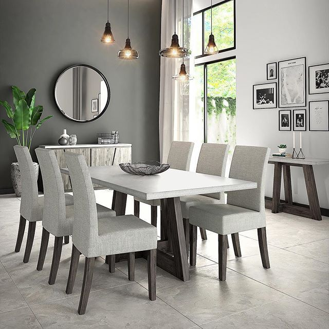 Hello Hello Schneidermans Austin Collection Dreamkitchen Modernhome Interior12 Concrete Dining Table Fabric Dining Chairs Oak Dining Table