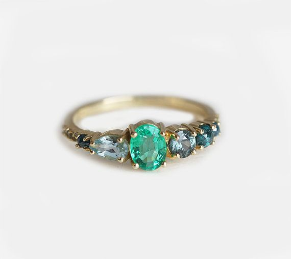 Hey, I found this really awesome Etsy listing at https://www.etsy.com/listing/268857499/emerald-engagement-ring-emerald-cluster