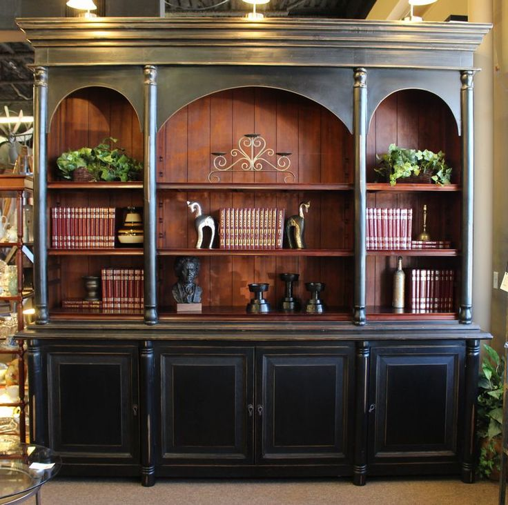 Oversized Black Bookcase With Triple Arched Hutch Base
