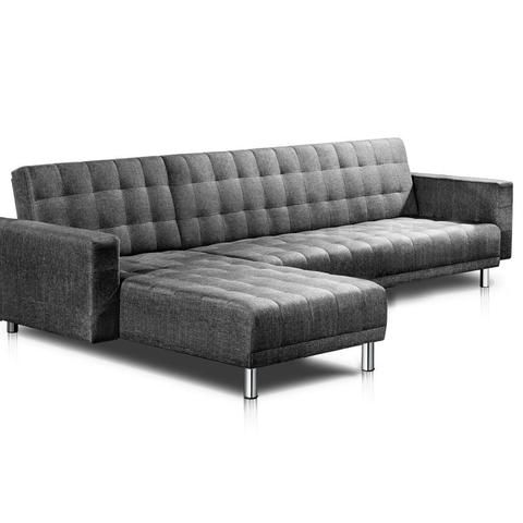 Linen and Chrome Sofa Bed (5 Seater Grey) - FREE SHIPPING AUSTRALIA WIDE