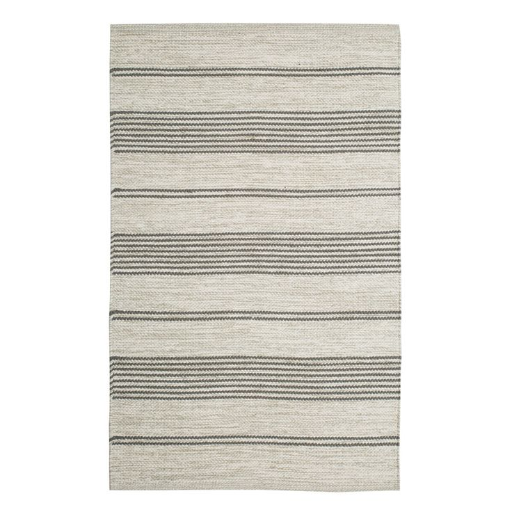 Scandinavian striped grey and off white cotton floor runner