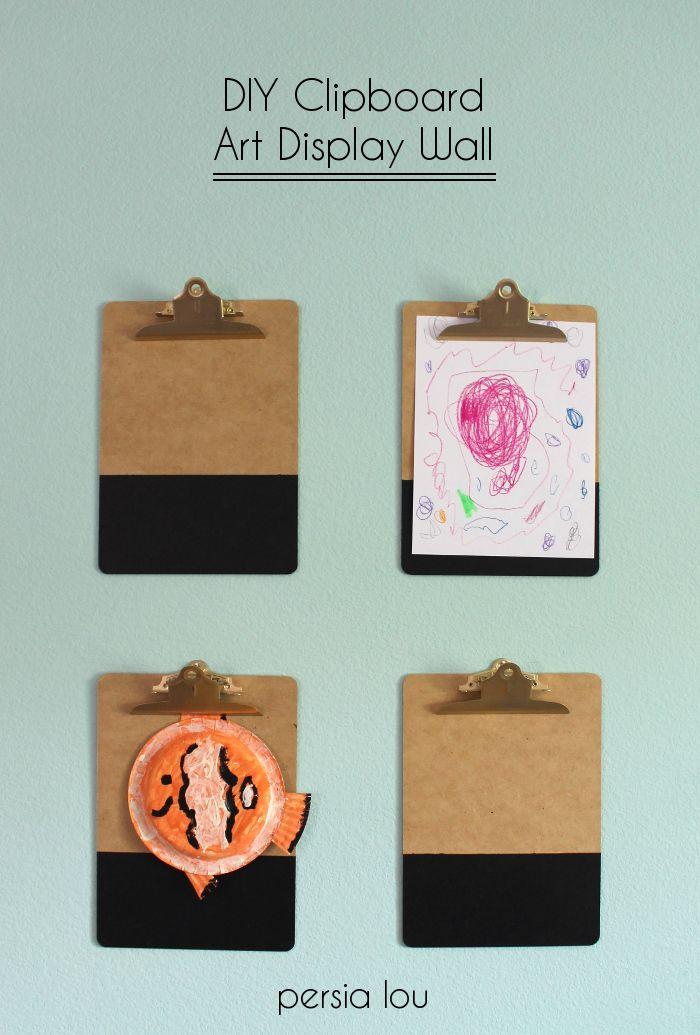 Glammed up clipboards are a great place to display kids' art projects