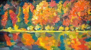 acrilic on canvas: River woods 30x50