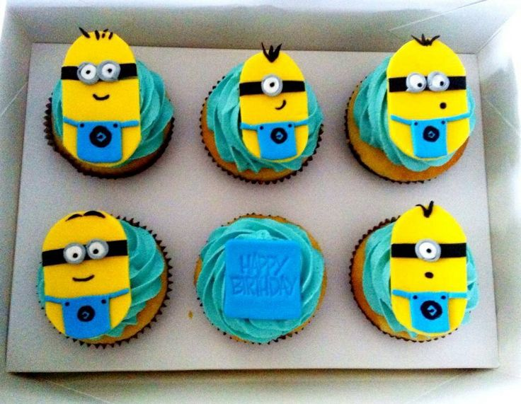 Minion Cupcakes. Fondant minion toppers by The Sweet Spot www.facebook.com/thesweetspotaustralia