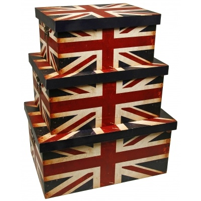 Set of 3 Union Jack Storage Boxes | PastTimes.com | #British #Flag #Boxes