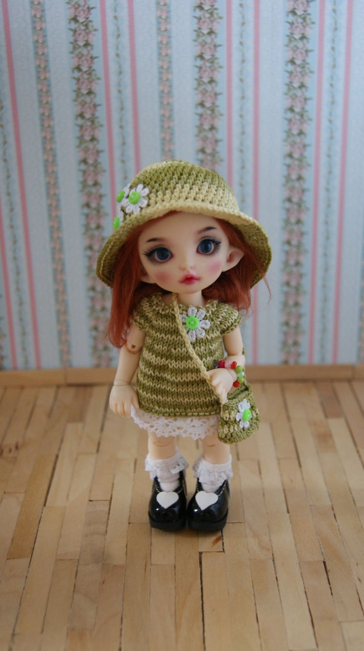 Hand knitted set for Pukifee, Lati Yellow etc. by CocoDolls on Etsy